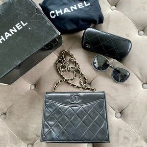 Chanel Vintage Cc Full Flap Bag Quilted Lambskin